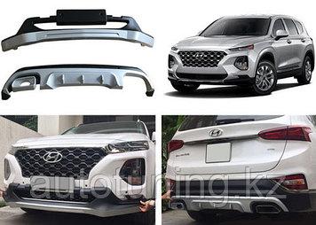 Защитные накладки бампера на Hyundai Santa Fe 2018+
