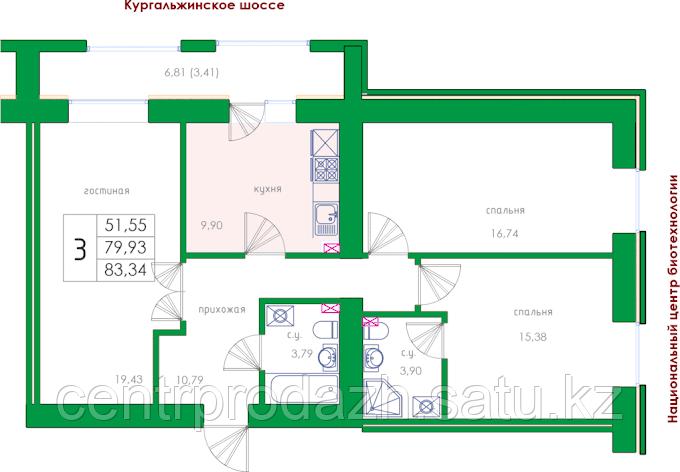 3 комнатная квартира в ЖК  College 83.36 м²