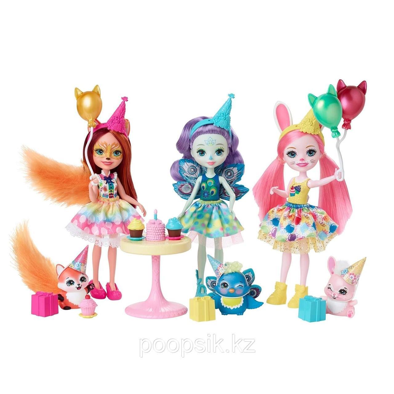 Enchantimals День рождения набор из трех кукол и их питомцев GJX22 - фото 4