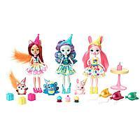 Enchantimals День рождения набор из трех кукол и их питомцев GJX22