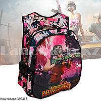 Рюкзак с ортопедической спинкой подростковый камуфляжный Battlegrounds 421 розовый