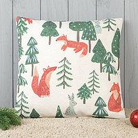 Подушка декоративная с фотопечатью «Лисички в лесу» 40х40 см