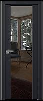 Дверь межкомнатная царговая 8U Черный матовый, Зеркальный триплекс, 700