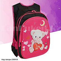Рюкзак с ортопедической спинкой подростковый Мишка Gole розовый