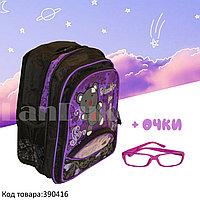 Рюкзак с ортопедической спинкой детский со светоотражателями и с очками Мишка JinRong F 50