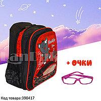 Рюкзак с ортопедической спинкой детский со светоотражателями и с очками Мишка JinRong F 50 красный