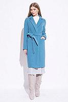 Пальто демисезонное, смесовая ткань, 42-52, светло бирюзовый