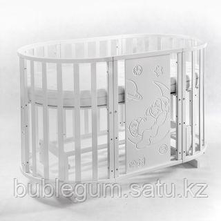 Круглая - овальная кровать трансформер LLARRI Solo Plus 8в1 Bear белый