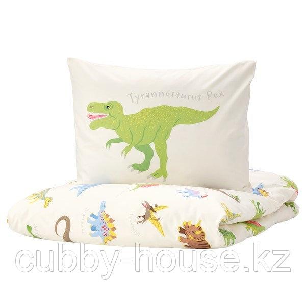 ЙЭТТЕЛИК Пододеяльник и 1 наволочка, динозавры, белый150x200/50x70 см