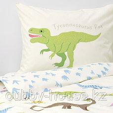 ЙЭТТЕЛИК Пододеяльник и 1 наволочка, динозавры, белый150x200/50x70 см, фото 3