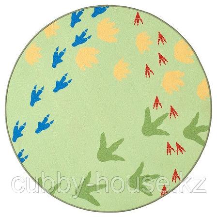 ЙЭТТЕЛИК Ковер безворсовый, следы динозавров, зеленый100 см, фото 2