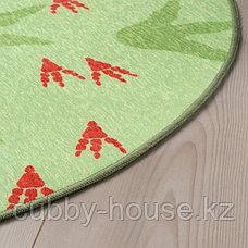 ЙЭТТЕЛИК Ковер безворсовый, следы динозавров, зеленый100 см, фото 3