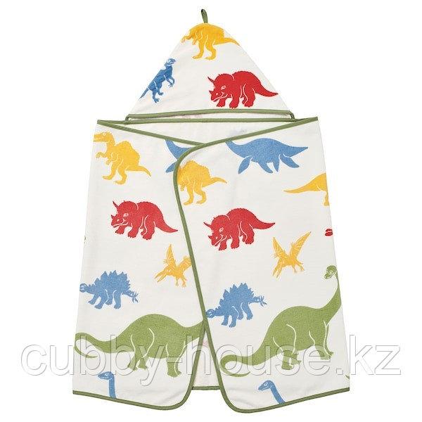ЙЭТТЕЛИК Полотенце с капюшоном, динозавр, разноцветный140x70 см