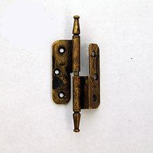 Петля карточная д/дверей с притвором, 50х80мм, правая, латунь пат.