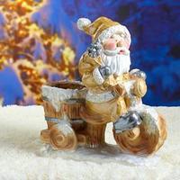 Фигурное кашпо 'Дед Мороз на велосипеде с бочкой' 48см золото