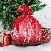 Мешок Деда Мороза, атлас, цвет красный