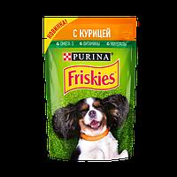 Влажный корм Purina Friskies для взрослых собак, с курицей в подливе, пауч, 85 г.