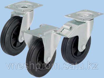Колёса со стандартной цельнолитой резиновой шиной, с пластмассовым ободом