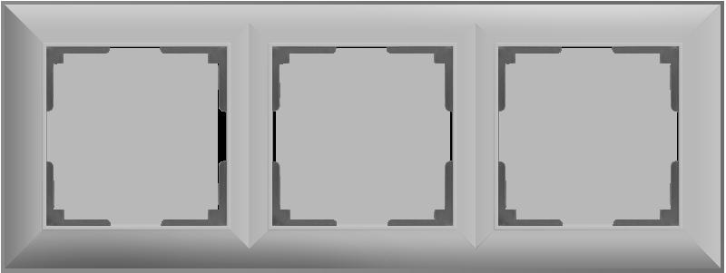 Рамка на 3 поста /WL14-Frame-03 (серебряный)