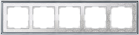 Рамка на 5 постов /WL77-Frame-05 (хром/белый)