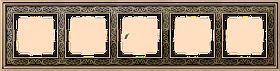 Рамка на 5 постов /WL77-Frame-05 (золото/черный)