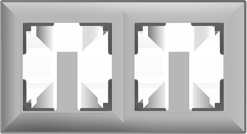 Рамка на 2 поста /WL14-Frame-02 (серебряный)