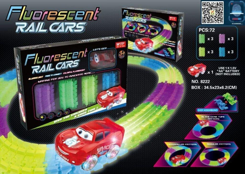 Fluorescent Rail Cars, Гибкий трек с машинкой - (светится в темноте)