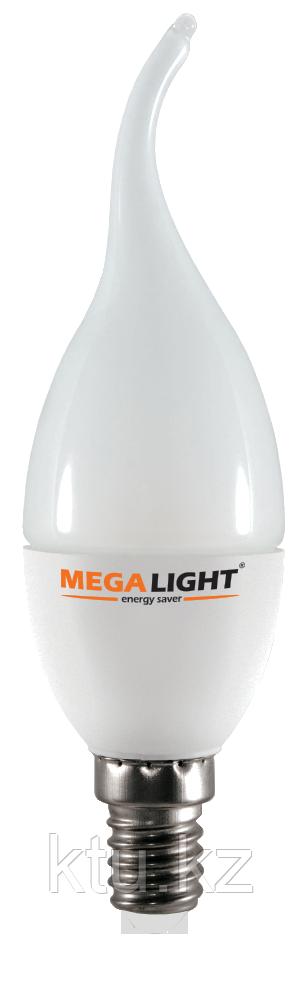"LED ЛАМПА CF37 ""Свеча на ветру""  7W 630Lm 230V 4000K E14 MEGALIGHT (10/100)"
