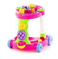 Каталка игровая с конструктором (13 элементов) в коробке (розовая), фото 1