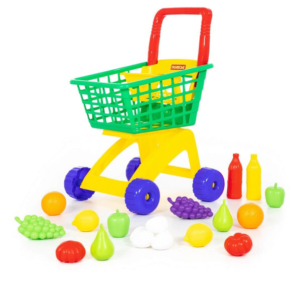 Тележка для маркета + набор продуктов №6 (19 элементов)