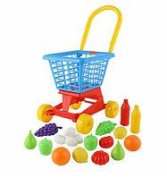 """Тележка """"Supermarket"""" №1 + набор продуктов (в сеточке), фото 1"""