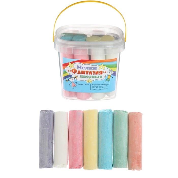Мелки Асфальтовые Фантазия, 14 шт. 7 цветов, цилиндр, в пластиковом ведре.
