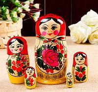 Матрешка Семёновская красный платок 5 в 1 размер 14 см