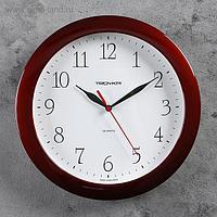 """Часы настенные круглые """"Классика"""", коричневый обод, 29х29 см"""