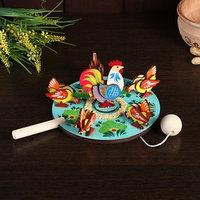Сувенир 'Курицы клюющие с петухом', d16 см
