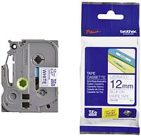 Лента TZe-233, синим на белом , для принтеров Brother PT-1010,  PT-1280VP, PT-D200VP, PT-E100VP и пр.