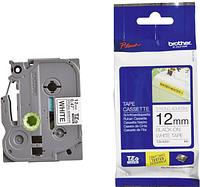 Лента TZe-S231, черным на белом (повышенной клейкости) , для принтеров Brother PT-1010, PT-1280VP и пр.