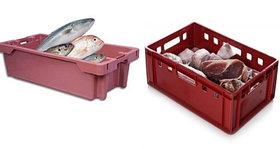 Пластиковые ящики для мяса и рыбы