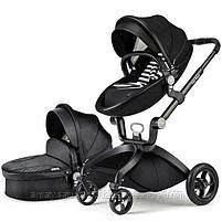 Детская коляска 2в1 Hot Mom зко-кожа(черный), фото 2