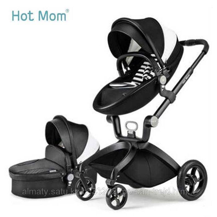 Детская коляска 2в1 Hot Mom зко-кожа(черный)