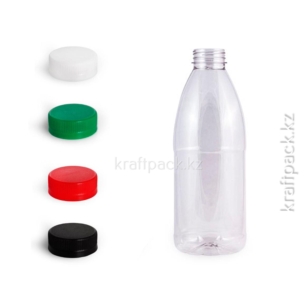 Бутылка 1000мл, с широким горлом 38мм (100 шт/уп) (Цвет крышки на выбор)