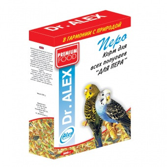 Корм для попугаев  Dr ALEX  500 гр ( ПЕРО ) PREMIUM FOOD