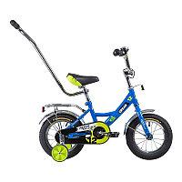 """Велосипед NOVATRACK 12"""", URBAN, синий, полная защита цепи, тормоз нож., крылья и баг хром, упр.ручка, фото 1"""