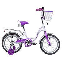 "Велосипед NOVATRACK 14"" BUTTERFLY белый-фиолетовый, тормоз нож, крылья и багаж хром, корз, полн защ., фото 1"