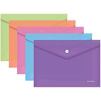 Папка-конверт на кнопке OfficeSpace А4, 120мкм Ассорти