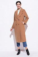 Пальто демисезонное, ворсовая ткань, 40-50, кэмел, прямое