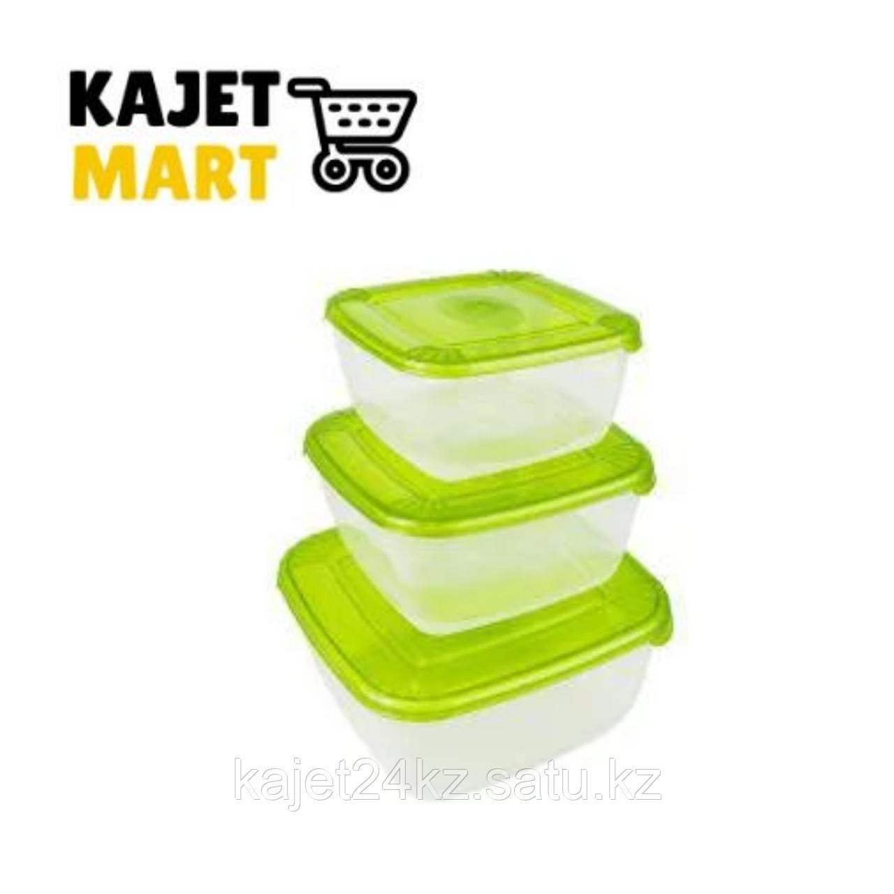 Набор для пищевых продуктов POLAR квадратных 3 шт. (0,46л; 0,95л; 1,5л) лаймовый