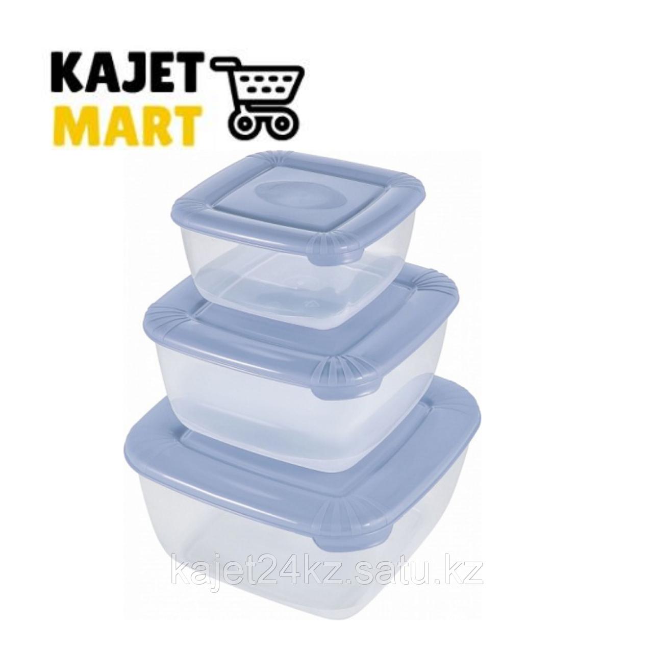 Набор для пищевых продуктов POLAR квадратных 3 шт. (0,46л; 0,95л; 1,5л) туманно-голубой