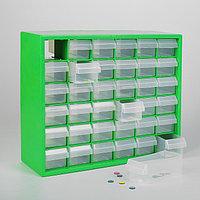 Бокс для хранения мелочей с выдвигающимися ячейками, 40 × 33 см, (1 ячейка 12 × 5,5 см), цвет зелёный
