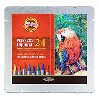 Карандаши художественные 24 цвета, Koh-I-Noor Progresso Aquarell 8784, цветные акварельные, цельнографитные, в металлическом пенале